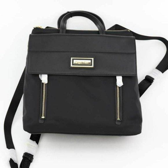 Calvin Klein Womens Belfast Flap Backpack Black